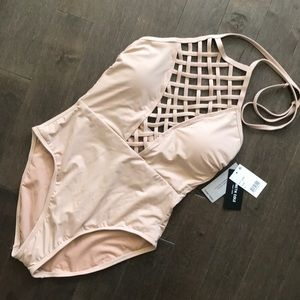 Nude One Piece Swimsuit by Kenneth Cole